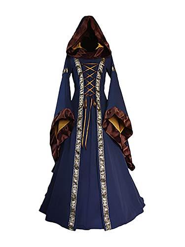 Hexen Kostüm Damen Cosplay Halloween Robe Zauberer Pharao Vampir Kleider Mädchen Kleidung mit Kapuze Club Zauberinenkostüm Fasching Für Karneval
