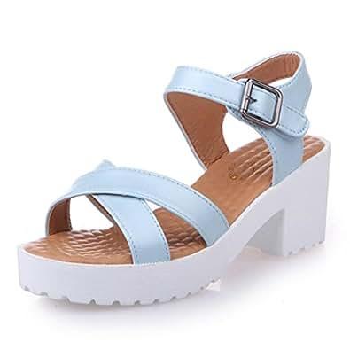 Longra Donne Sandali Spesso Soled moda (EU Size:35, Nero)