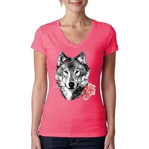Im-Shirt - Wolf mit Rose cooles Fun Girlie Shirt - verschiedene Farben Light-Pink