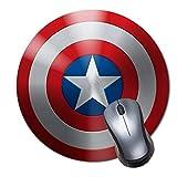 Alfombrilla de ratón Antideslizante de Goma para Videojuegos, Alfombrilla de ratón Redonda para Ordenadores, portátil, Alfombrilla de ratón, Escudo del Capitán América Icono