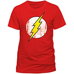 DC Comics - Camiseta de Flash con cuello redondo de manga corta para hombre, Rojo, X-Large
