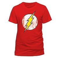DC Homme The Flash Logo T-Shirt à Manches Courte Col Rond - Rouge, Medium - T-shirt super-héros sous licence - Motif logo Flash - Motif rétro - Encolure arrondie - Couleur rouge