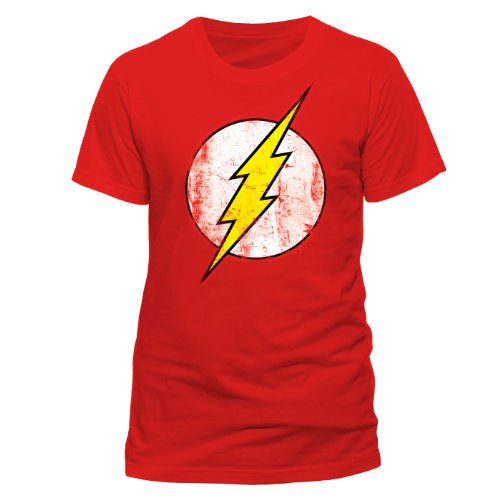 Black Kostüm Flash - DC Herren T-Shirts  The Flash - Logo, Rundhals  - Rot - Red - Größe L (Herstellergröße: Large)