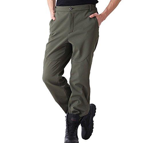 emansmoer Homme Imperméable Coupe-Vent Softshell Doublée Polaire Pantalon Outdoor Sport d'escalade Camping Randonnée Pants (XXX-Large, Armée Verte)