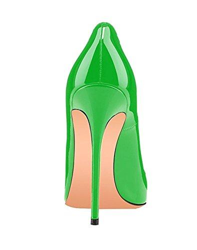 Donna Scarpe Tacco Scarpe Tacchi Di 120mm Da Alto Dimensioni Spillo Verde Edefs Sexy Vernice Grandi wExad0q8d