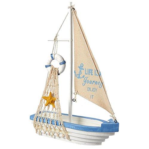 Juvale Segelboot Modell Dekoration-Holz Schiff, Das Boot Home Decor, Beach Nautische Thema, Blau & Weiß (Nautische Dekorationen Thema)