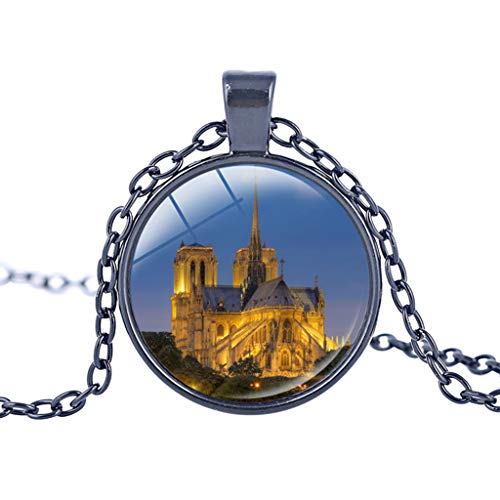 Notre Dame Cathedral Rose Window Buntglas-Halskette Notre Dame Anhänger Halskette Fashion Dia: 2.5cm With 50cm chain (extra chain 5cm) K - In Paris Was Zu Tun