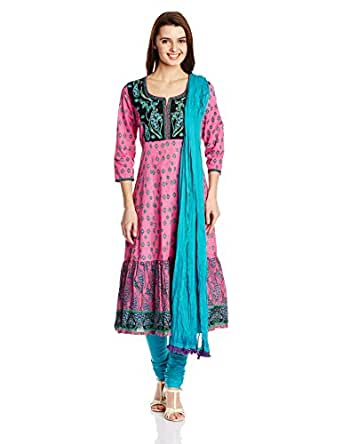 Rain and Rainbow Women's Anarkali Salwar Suit Set (SKD-4417-AR-14\44-12_PINK_XX-Large)