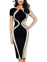 Yusealia Abito Donna Estivo Eleganti da Cerimonia Vestito Donna Lungo Mezza  Manica fb2ee6e3f31