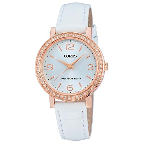 Lorus Ladies' Rose Gold-Plated White Leather Strap Watch