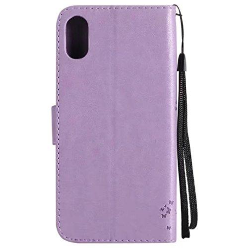 Retro Art-Katze und Baum prägeartiges Muster-Kunstleder-Kasten-Abdeckung mit Kartenschlitzen und Lanyard für iPhone X ( Color : Red ) Purple