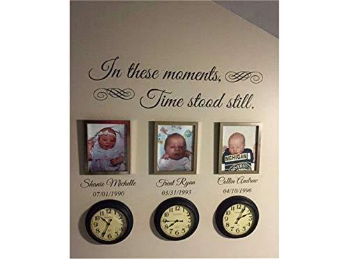 wandaufkleber babyzimmer junge In diesen Momenten stand die Zeit still Customized Name und Datum für Wohnzimmer Schlafzimmer (nicht enthalten die Fotos und Uhren)