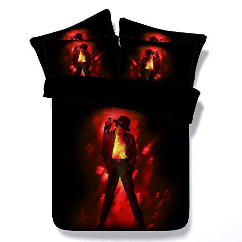 ktlrr Michael Jackson Bettbezug Set Single Full King Super King Size, 3D Fashion beliebten Sänger Michael Jackson Muster Gedruckt Auf Rot Hintergrund, 3-teiliges Bettwäsche-Set mit 2Kissenbezüge: keine Tröster, 100% Mikrofaser, muster 2, Single(150x200cm)