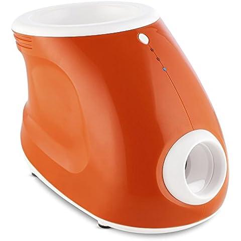 oneConcept Ballyhoo lanzador de pelotas para perros automático (3 distancias 3, 6, 10m aprox, juguete inteligente, 3 pelotas mascota blandas, portátil) - naranja
