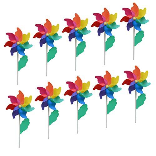 F Fityle 10 Stück Bunt Windmühle Rasen Windräder Kinder Spielzeug Garten Dekoration mit Holzstab | Garten > Dekoration > Windmühlen | F Fityle
