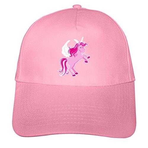 plot4u Kinder Kappe Pinkes Einhorn Mütze Cap Kindermütze für Kids Beechfield Junior Original 5 Panel Cap OneSize rosa/farbiger Aufdruck