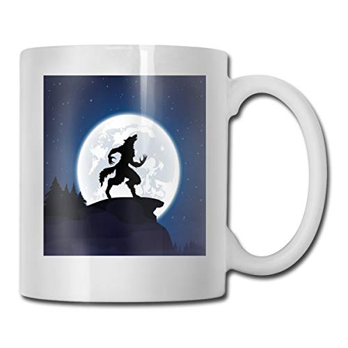 Jolly2T Funny Ceramic Novelty Coffee Mug 11oz,Full Moon Night Sky Growling Werewolf Mythical Creature In Woods Halloween,Unisex Who Tea Mugs Coffee Cups,Suitable for Office and Home