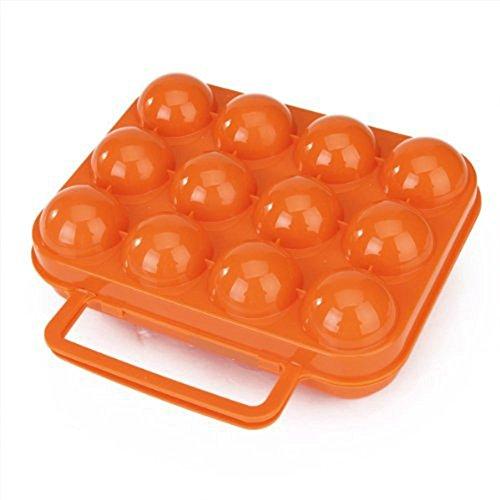welim huevera bandeja de huevos caja de cuadrículas de 12huevos de plástico portátil Picnic al aire libre transportista recipiente CAMPING Carrier para huevos, color naranja