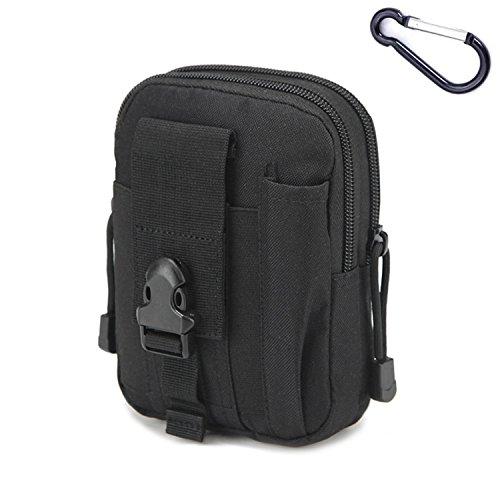 mcdobexy Wasserdicht Military Tactical Taille Pack EDC Handytasche MOLLE UTILITY Gadget Gürtel Taille Tasche für Sports Outdoor Hiking Camping mit extra Metall Karabiner, schwarz