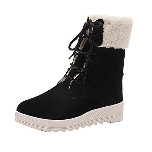 VECDY Damen Schuhe,Räumungsverkauf- Herbst Damen Stiefel Winterstiefel Warm Mitte Kalb Stiefel Warme Winterschuhe Lässige Wohnung Stiefel warme Schneeschuhe Sneakers(schwarz,40)