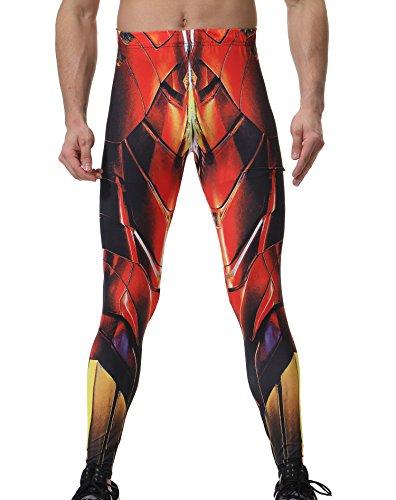 Red Plume Pantaloni dell'uomo Superhero pantaloni stretti per gli sport Podismo Eroe Pantaloni costume cosplay colore cucitura