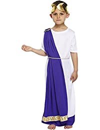 BOYS KIDS ROMAN EMPEROR COSTUME GREEK CAESER TOGA OUTFIT FANCY DRESS SIZE LARGE