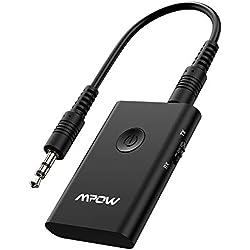 Adaptador Bluetooth Mpow Transmisor Receptor 2 en 1, Soporte aptX baja latencia en modo TX, adaptador RX, Jack 3,5 mm, conexión multipunto, transmisión de audio para coche, TV, PC,Sistema Estéreo