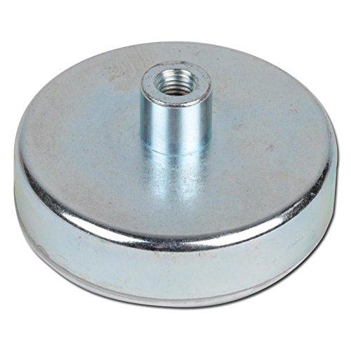 Flachgreifer Topfmagnet SmCo Gewindebuchse verzinkt Ø 6mm - Ø 32mm - Flachgreifer kommen vor allem im Metallbau, Anlagenbau, Vorrichtungsbau, Messebau, Modellbau zum Einsatz, Größen:Ø 6mm   M3   0.5kg Haftkraft