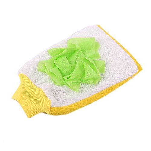 LissomPlume 2 En 1 Gant De Toilette Exfoliant En Coton Avec Fleurs De Massage Pour Bain Douche vert