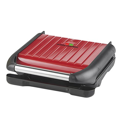 George Foreman Steel Health Grill, Five Portion Grill with Adjustable Rear Foot, Non-Stick Plates and Vertical Storage, Red, 25040