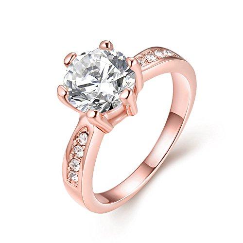 Fjyouria - fede nuziale da donna in oro rosa/platino 18 ct, rotonda, con cristalli di zirconia cubica, trasparente e oro rosso, 57 (18.1), cod. svr101