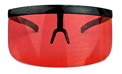 m 80er 90er Jahre Stil Damen Herren Electro Rave Visor K21 (Rot) (80er Jahre Mens Style)