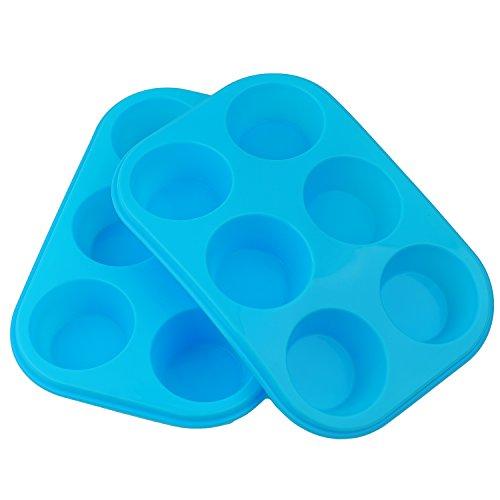 2 X Silicone Bun/Muffin Tray Non Stick Baking Mould 6 Cup (Blue)