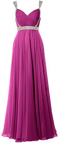 MACloth Elegant Straps V Neck Chiffon Long Prom Dress 2018 Evening Formal Gown Fuchsia