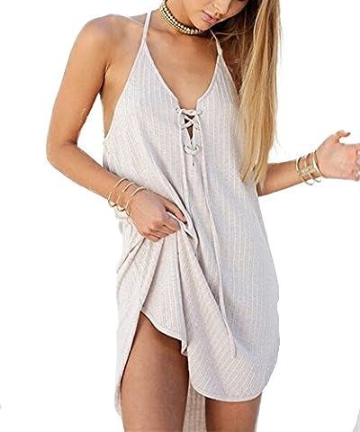 Sommer Strand Elegant ärmellos V-Ausschnitt Damen Minikleid Party Dress