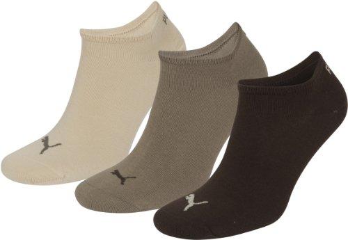 Puma Invisible 3P Sneaker Socken Sportsocken 3er Pack Braun Mix Sneakersocken, Schuhgröße:39-42