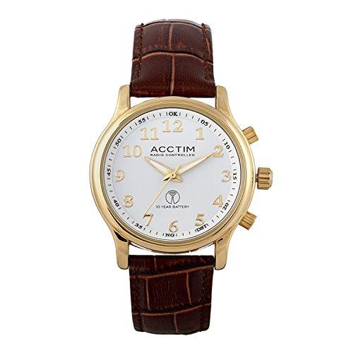 """Acctim Blumengestecke Herren-Armbanduhr """"Oro"""", goldfarbenes Gehäuse, Batterie mit 10 Jahre Lebensdauer"""