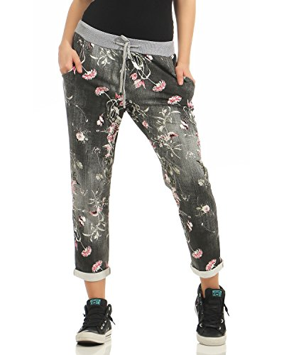 Zarmexx Damen Sweatpants Baggy Hose Boyfriend Freizeithose Sporthose All-Over Roses Print One Size (Fit-yoga-hosen Relaxed)