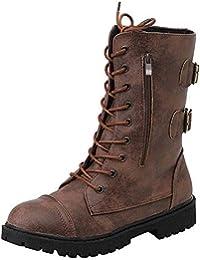 Logobeing Zapatos de Mujer Denim Botas Altas de Vaquero Romano de Mujer Botas Largas Militar Tacones Mujer Calientes Seguridad Zapatillas-Cremallera
