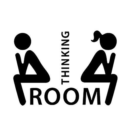 """Merssavo Pegatinas de Pared Extraíbles para """"Pensar Room"""" Etiqueta de Baño para el Asiento de Inodoro"""