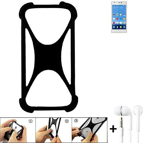 K-S-Trade Handyhülle für Gionee Elife S5.5 Schutzhülle Bumper Silikon Schutz Hülle Cover Case Silikoncase Silikonbumper TPU Softcase Smartphone, schwarz (1x), Headphones
