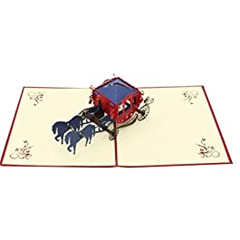 Biglietti D'Auguri 3D Pop Up Carta Per Stampanti Laser Taglio Creativo Handmade Di Cerimonia Nuziale Lnvitations Amore Carriage Cartoline Wishes Gifts