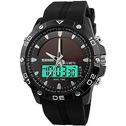 QBD Boy Sport Uhr für Kid Solar Power LED Digital Wasserdicht Armbanduhr mit Stoppuhr und Alarm Schwarz