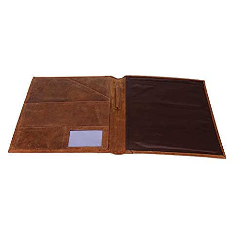 Handmade Traditional Genuine Leather Conference Folder Pad Folio Portfolio Document folder for Business Executives Work School for Men and Women with Vintage and Antique Look .