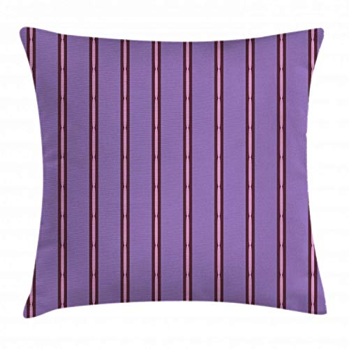 Geometric Throw Pillow Cushion Cover, Sausage Link Shapes Built-in Purple Colored Pinstripe Pattern, Decorative Square Accent Pillow Case, Maroon Violet and Pale Pink,22 X 22 Inches