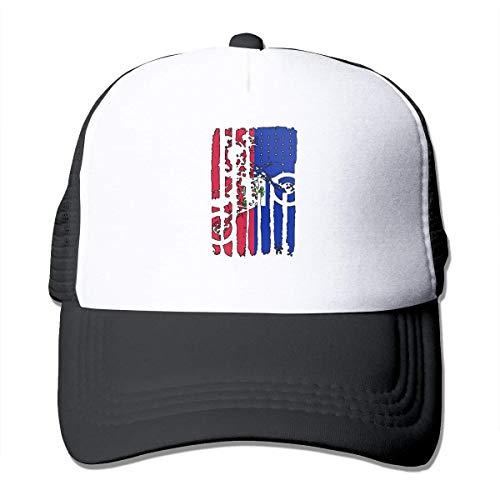 American Haiti Flag Motocross Adjustable Mesh Trucker