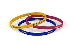 Idea Regalo - Fcb braccialetto Classic tricolore, braccialetti di silicone calcio Club Barcelona, prodotto ufficiale