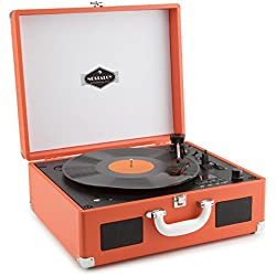 auna Peggy Sue CD tocadiscos retro (USB, SD, reproductor de CD, altavoces estéreo integrados, salida RCA, digitalizador LP) - naranja