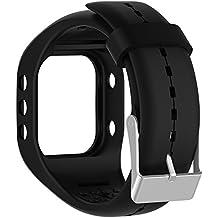 Silicona reloj banda correa de repuesto Flexible longitud ajustable pulsera Fitness para Polar A300reloj inteligente, negro