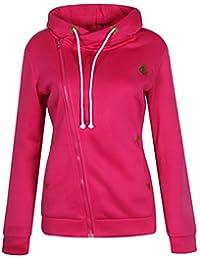 ELFIN Femme Sweat-shirt à capuche Manches Longues Zippé Molleton Polaire  Veste Hoodie Sport Automne 032e20ed3241
